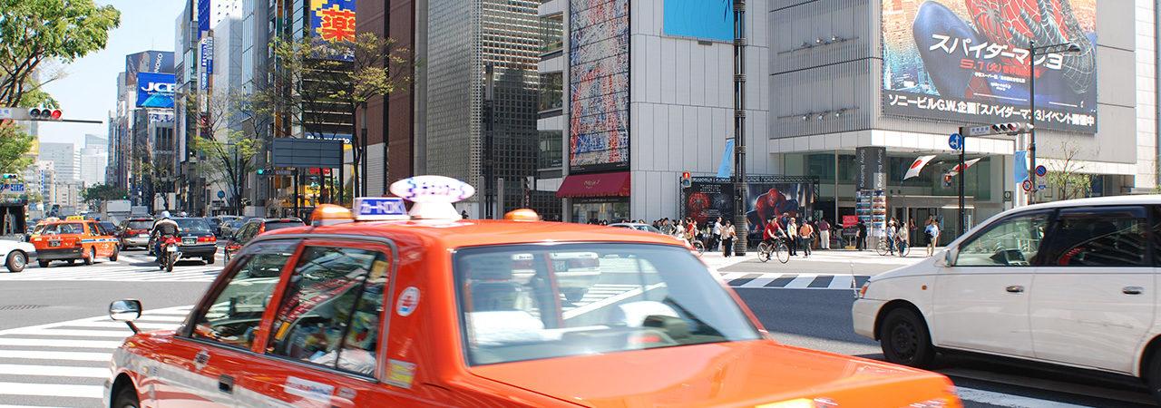 Taxi dans le quartier de Ginza